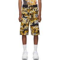 Versace Jeans Couture Black And Yellow All Over Barocco Shorts