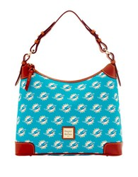 Dooney And Bourke Miami Dolphins Printed Hobo Turquoise Dolphins