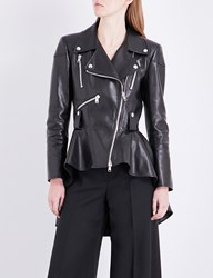 Alexander Mcqueen Peplum Leather Biker Jacket Black