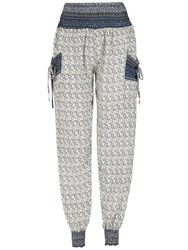 Izabel London Eastern Print Harem Pants Blue