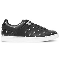 Neil Barrett Embroidered Leather Sneakers Black