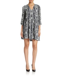 Essentiel Printed Shift Dress Black White