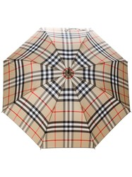 Burberry Checked Umbrella Polyester Acetate Glass Fiber Steel Nude Neutrals
