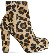Dune Ottawa Suede Ankle Boots Leopard Pony