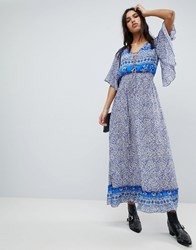 Lily And Lionel Printed Marlowe Maxi Dress Santorini Print Blue