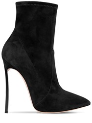 Casadei 120Mm Blade Stretch Suede Ankle Boots Black