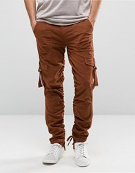 Asos Slim Cargo Trousers With Side Tape In Rust Rust Brown