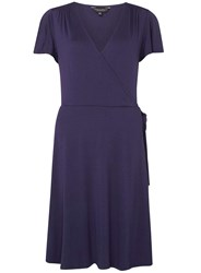 Dorothy Perkins Tall Navy Wrap Fit And Flare Dress