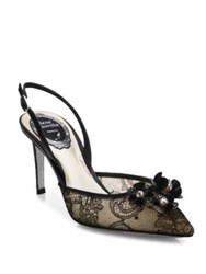 Rene Caovilla Embellished Lace And Snakeskin Slingbacks Black