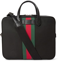 Gucci Leather Trimmed Canvas Briefcase Black