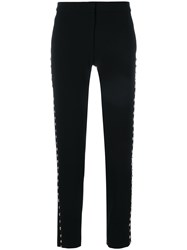 Moschino Stud Embellished Trousers Polyester Acetate Cupro Triacetate Black