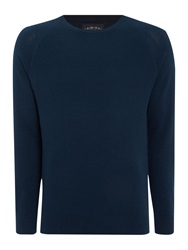 Criminal Keymoor Raglan Crew Neck Jumper Navy