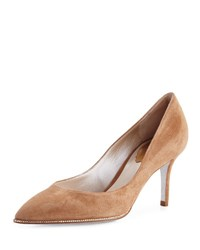 Rene Caovilla Crystal Trim Suede 70Mm Pump Beige Beige W Golden S