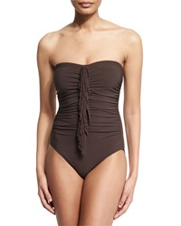 Karla Colletto Fringe Front Bandeau One Piece Swimsuit Women's