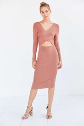 Glamorous Shimmer Knit Criss Cross Cutout Midi Dress Copper