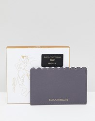 Paul Costelloe Real Leather Scallop Card Holder Grey