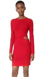 Elizabeth And James Railey Long Sleeve Dress With Side Cutout Detail Vermillion