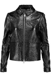 Tory Burch Fae Faux Patent Leather Jacket Black