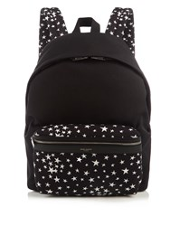 Saint Laurent City Star Print Canvas Backpack Black Multi