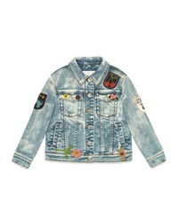 Gucci Bleached Denim Jacket W Patches Blue Multicolor Size 10 12 Girl's Size 10 Multi Blue