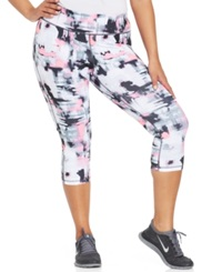 Ideology Plus Size Graphic Print Capri Leggings Abstract Watercolor