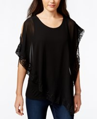 Amy Byer Bcx Juniors' Sequin Lace Chiffon Asymmetrical Top Black