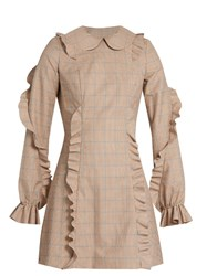 Anna October Ruffled Checked Dress Beige