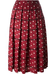 Comme Des Gara Ons Comme Des Gara Ons Pleated Polka Dot Skirt Red