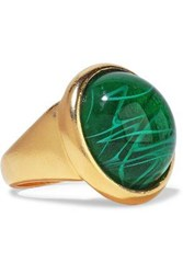 Ben Amun Woman 24 Karat Gold Plated Stone Ring Green