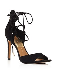 Dolce Vita Hazeley Peep Toe Lace Up High Heel Sandals Black
