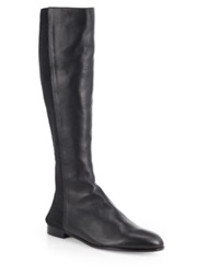 Manolo Blahnik Ambia Stretchy Leather Knee High Boots Black