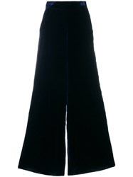 Aviu Wide Leg Textured Trousers Silk Viscose Blue