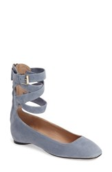 Valentino Women's Ankle Wrap Ballet Flat Sky Blue Suede