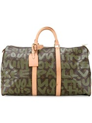 Louis Vuitton Vintage 'Keepall 50' Graffiti Holdall Green