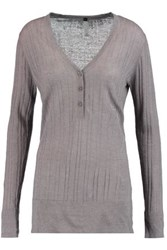 Soyer Ribbed Linen Cashmere And Silk Blend Top Taupe