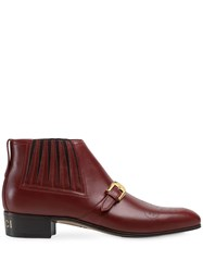Gucci Leather Ankle Boot With G Brogue Red