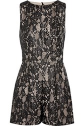 Alice Olivia Ashleigh Lace And Satin Playsuit Black