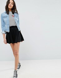Asos Jersey Mini Skater Skirt With Drawstring Black