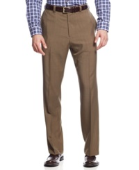 Haggar Classic Fit Repreve Stria Flat Front Dress Pants Khaki