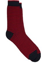 Barneys New York Men's Fine Striped Cotton Blend Mid Calf Socks Red