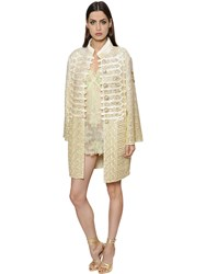 Ermanno Scervino Astrakhan Effect Embroideries Tulle Coat