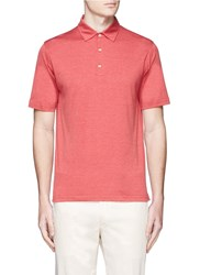 Isaia Silk Cotton Polo Shirt Red