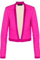Isabel Marant Kade Quilted Neon Silk Organdy Jacket Pink