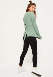 Missguided Green Waffle Knit Chunky Lace Up Back Jumper