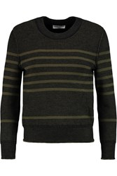 Sonia Rykiel Striped Wool Silk And Cashmere Blend Sweater Green