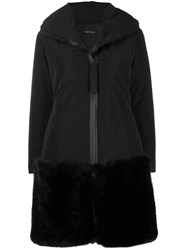 Emporio Armani Faux Fur Hem Shell Coat Black