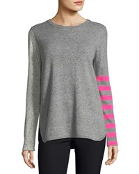 Lisa Todd Pop Rocks Cashmere Striped Sweater Petite Confetti Hot Pink