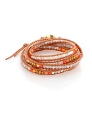 Chan Luu Mother Of Pearl Faux Lion's Paw Pearl And Leather Multi Row Beaded Wrap Bracelet Tan Multi