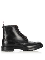 Gucci Lace Up Leather Brogue Boots Black Multi