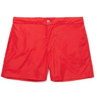 Officine Generale Roman Slim Fit Mid Length Swim Shorts Red